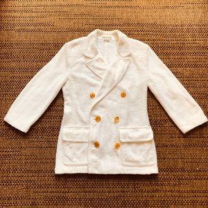 Isaac Mizrahi White Terry Cloth Blazer Size 8